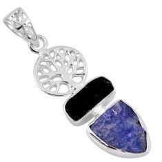 10.24cts natural blue tanzanite rough 925 silver tree of life pendant r55505