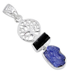 9.29cts natural blue tanzanite rough 925 silver tree of life pendant r55506