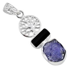 9.99cts natural blue tanzanite rough 925 silver tree of life pendant r55507