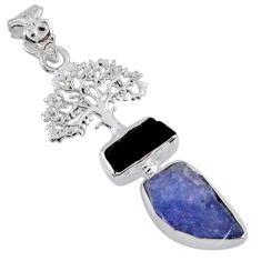 10.60cts natural blue tanzanite rough 925 silver tree of life pendant r55561