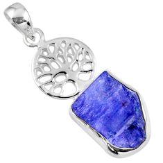 7.97cts natural blue tanzanite rough 925 silver tree of life pendant r56842