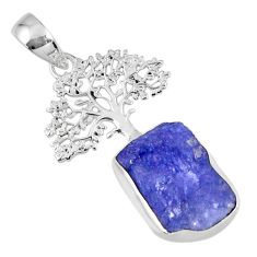 7.03cts natural blue tanzanite rough 925 silver tree of life pendant r56845