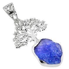 8.53cts natural blue tanzanite rough 925 silver tree of life pendant r56846
