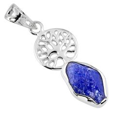 7.60cts natural blue tanzanite rough 925 silver tree of life pendant r56860