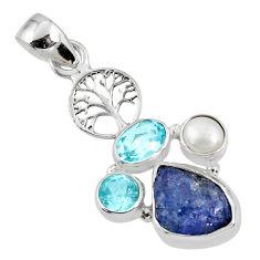 8.28cts natural blue tanzanite rough 925 silver tree of life pendant r62028