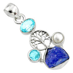 9.55cts natural blue tanzanite rough 925 silver tree of life pendant r65042