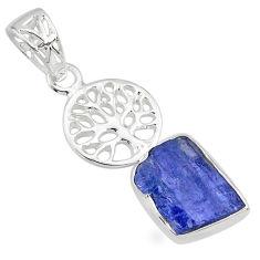 6.72cts natural blue tanzanite raw 925 silver tree of life pendant r80882