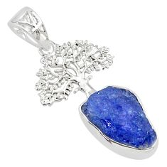 8.42cts natural blue tanzanite raw 925 silver tree of life pendant r80885
