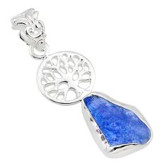 7.15cts natural blue tanzanite raw 925 silver tree of life pendant r80886