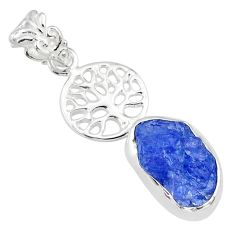 6.85cts natural blue tanzanite raw 925 silver tree of life pendant r80889