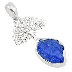 6.85cts natural blue tanzanite raw 925 silver tree of life pendant r80890