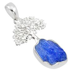 6.85cts natural blue tanzanite raw 925 silver tree of life pendant r80892