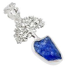 6.85cts natural blue tanzanite raw 925 silver tree of life pendant r80893