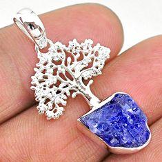 5.96cts natural blue tanzanite raw 925 silver tree of life pendant t17151