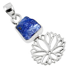 5.54cts natural blue tanzanite rough 925 sterling silver flower pendant r62062