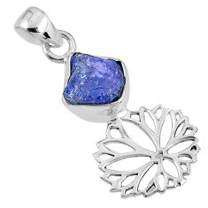 5.54cts natural blue tanzanite rough 925 sterling silver flower pendant r62063