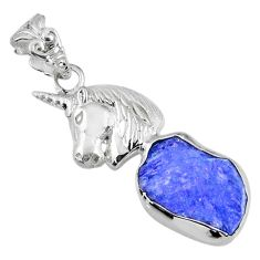 7.32cts natural blue tanzanite rough 925 sterling silver horse pendant r56850