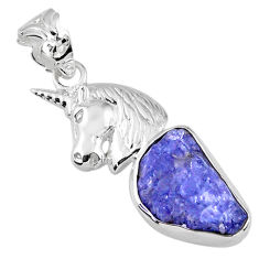 7.83cts natural blue tanzanite rough 925 sterling silver horse pendant r56851