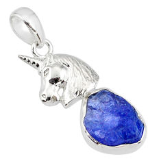6.84cts natural blue tanzanite raw 925 sterling silver horse pendant r80881