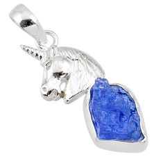 6.84cts natural blue tanzanite raw 925 sterling silver horse pendant r80883
