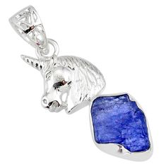 7.04cts natural blue tanzanite raw 925 sterling silver horse pendant r80898