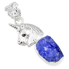 7.66cts natural blue tanzanite raw 925 sterling silver horse pendant r80900