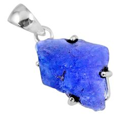 13.55cts natural blue tanzanite rough 925 sterling silver pendant jewelry r56681