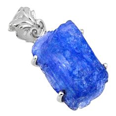 16.90cts natural blue tanzanite rough 925 sterling silver pendant jewelry r56685