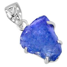 12.56cts natural blue tanzanite rough 925 sterling silver pendant jewelry r56688