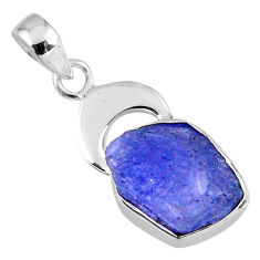 8.26cts natural blue tanzanite rough 925 sterling silver pendant jewelry r56841