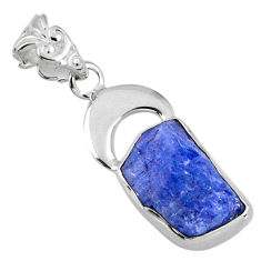 7.30cts natural blue tanzanite rough 925 sterling silver pendant jewelry r56849