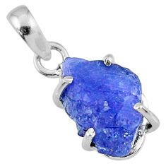 9.34cts natural blue tanzanite rough 925 sterling silver pendant jewelry r61951
