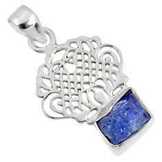 5.82cts natural blue tanzanite rough 925 sterling silver pendant jewelry r62061