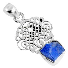 6.70cts natural blue tanzanite rough 925 sterling silver pendant jewelry r62065