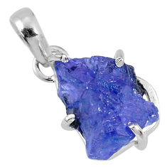 10.85cts natural blue tanzanite rough 925 sterling silver pendant jewelry r62077