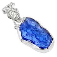8.86cts natural blue tanzanite raw 925 sterling silver handmade pendant r80711