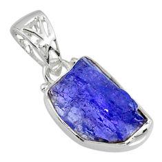 8.76cts natural blue tanzanite raw 925 sterling silver handmade pendant r80713