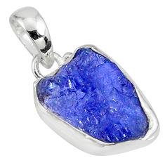 9.67cts natural blue tanzanite raw 925 sterling silver handmade pendant r80717