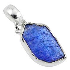 11.11cts natural blue tanzanite raw 925 silver handmade pendant r80718