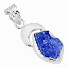 6.26cts natural blue tanzanite raw 925 sterling silver handmade pendant r80894