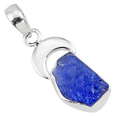 6.27cts natural blue tanzanite raw 925 sterling silver handmade pendant r80897