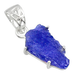 11.08cts natural blue tanzanite raw 925 sterling silver handmade pendant r82954
