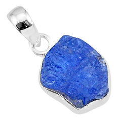 7.08cts natural blue tanzanite raw 925 sterling silver pendant jewelry r91682
