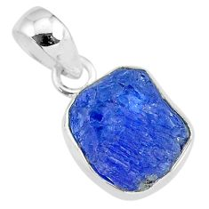6.73cts natural blue tanzanite raw 925 sterling silver pendant jewelry r91686