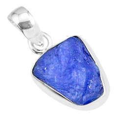 6.34cts natural blue tanzanite raw 925 sterling silver pendant jewelry r91688