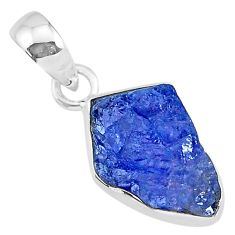 6.47cts natural blue tanzanite raw 925 sterling silver pendant jewelry r91692