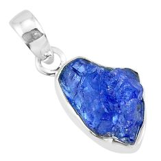 6.64cts natural blue tanzanite raw 925 sterling silver pendant jewelry r91693