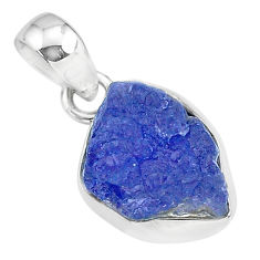 6.29cts natural blue tanzanite raw 925 sterling silver pendant jewelry r91695