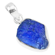 7.68cts natural blue tanzanite raw 925 sterling silver pendant jewelry r91696