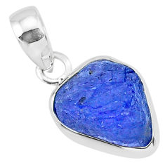 6.73cts natural blue tanzanite raw 925 sterling silver pendant jewelry r91701